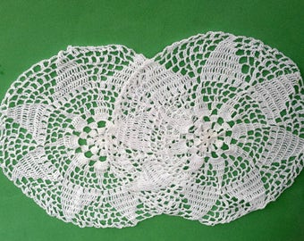 Doily, White, Pair, Crochet, Handmade, Centerpiece, White Doily, Table Cover, Doilies, End Table, Lace Doily, Crocheted Doily, Round Doilies