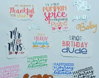 Words die cut and big scrips cut outs. Embellishments,  card making. Decorate planners or scrapbooking pages