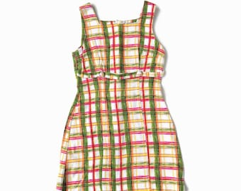 90s Grunge Bright Plaid Mini Dress