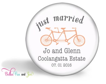 Wedding Favour Magnet Set of 20  - Tandem Bike Coral Personalised 5.7cm (2.25 inches)