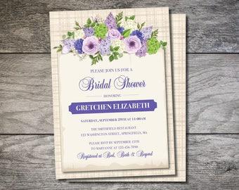 Floral Bridal Shower Invite, Lilac Bridal Shower, Hydrangea Invite, Bridal Shower Invitation, Lilac Wedding Shower Invite, Purple Shower