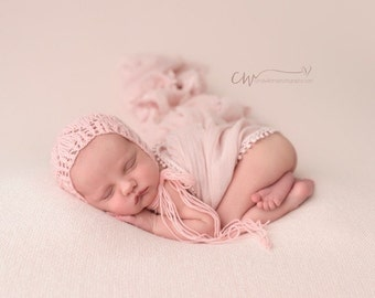 Pink Knit Bonnets with heart pattern