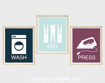 Laundry Room Art Prints, Set of Three, Wash Dry Press, Laundry Room Decor, Navy Blue, Mint Green