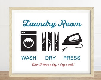 Wash Dry Press, Laundry Room Sign, Wash Dry Press, Laundry Art, Laundry Room Decor, Laundry Room Art