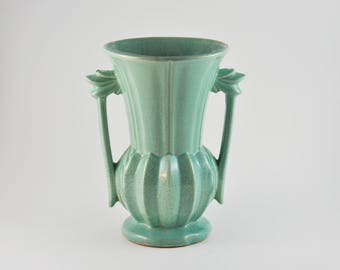 gallerymichel 1940s McCoy Pottery Large Green Two Handled Vase