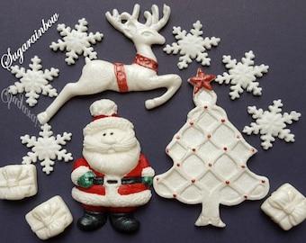 Edible christmas decorations reindeer christmas tree gifts santa father christmas  snowflakes cake cupcake toppers decorations
