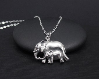 Elephant Necklace Sterling Silver Mom and Baby Elephant Necklace, Mother and Baby Elephant Necklace, Elephant Jewelry