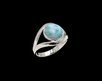 Larimar 10mm High Polished .925 Sterling Silver  Ring  Size 8.5