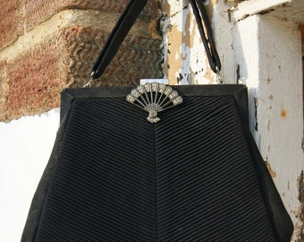 1950's Black Crepe Evening Bag