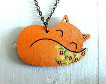 Fox Necklace, Fox Lover Gift, Wooden Fox Necklace,Fox Jewelry, Animal Lover Neckace,  Woodland Necklace, Gift for Animal Lover, Red Fox