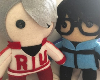 Yuri Katsuki and Viktor Nikiforov Yuri On Ice! Fleece Plush Dolls