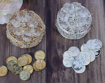 NEW!!! Gold or Silver Wedding Arras, Arras de Boda, Unity Coins, Treasurer Chest Wedding Arras, Silver Wedding Arras, 13 wedding Unity Coins