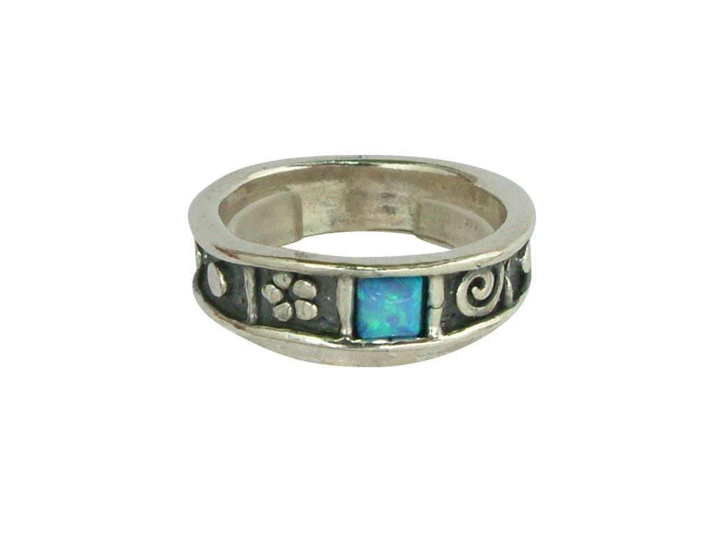 shablool ring blue opal ring silver stacking ring