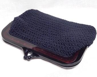Dark Navy Blue Crochet Handbag Clutch with Tortoise Bakelite Plastic Clasp Handle