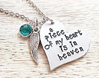 Memorial Jewelry, Remembrance Gifts, Loss of Mother, Loss of Father, Loss of Husband, A Piece of my Heart in Heaven Necklae, In memory of