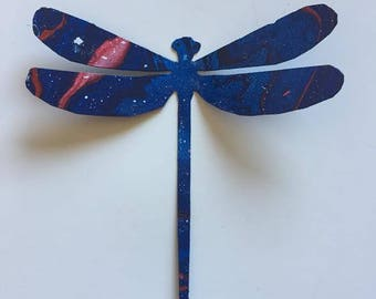 Hand Painted metal Dragonfly yard art garden decor.
