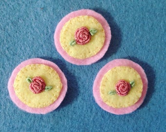 Embroidered rose patch or pin