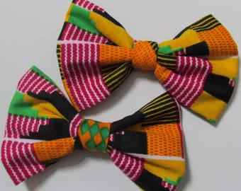 African Afro centric Kente print cotton fabric Africa shoe bow bride clips