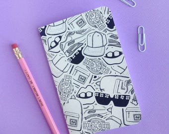 Fashion Accessory Illustrated Sketchbook   Printed Notebook   Stationery Ideas   A6   Back To School
