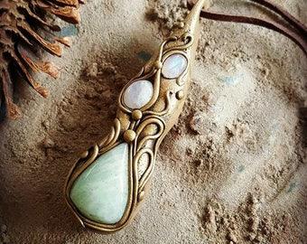 Amazonite Rainbow Moonstone healing crystal pendant Handmade Mystic hippie boho pagan shaman reiki jewelry