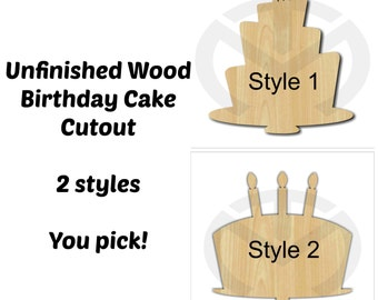 Unfinished Wood Birthday Cake Laser Cutout, Wreath Accent, Door Hanger, Ready to Paint & Personalize, Various Sizes and 2 styles