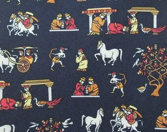 Salvatore Ferragamo Tie Pure Silk Ancient Character Horse Chariot Repeat Pattern Black Vintage Designer Dress Necktie Made In Italy