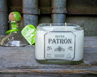 Scented Soy Candle Handmade From Recycled Patron Tequila Liquor Bottle, Fun Bar or Man Cave Decor!