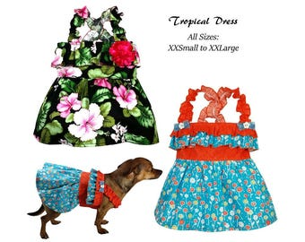 PDF Dog Dress Sewing Pattern, Digital Dog Harness Sewing Pattern, Tutorial n Pattern -Tropical Dress- ALL SIZES XXSmall to XXLarge