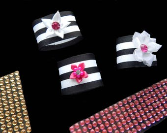 25 BLACK and WHITE Stripe Napkin Ring with Vibrant PINKFloral, Your choice of floral or Plain Napkin Holder, Bridal Shower, Wedding, Event