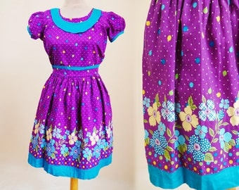 Purple Dress Border print Floral print Turquoise Extra small Knee length Puffy Short sleeve Cinched waist Full skirt Girls Peasant dress