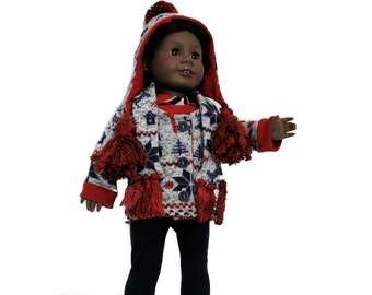 Nordic Cardigan with Matching Hat, Scarf, Leggings, Shirt for 18 Inch Dolls such as American Girl, Our Generation, Madam Alexander