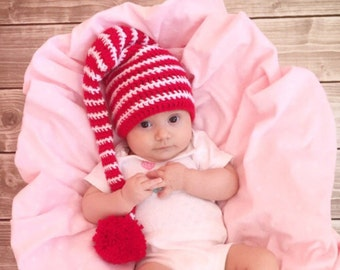Elf hat, elf hat baby, Christmas baby hat, crochet elf hat, elf hat adult, striped elf hat, christmas kids hat, newborn elf hat