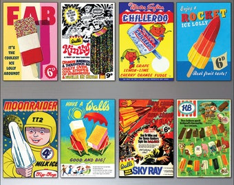 Nostalgic retro ice cream and lollies adverts fridge magnets set of 8