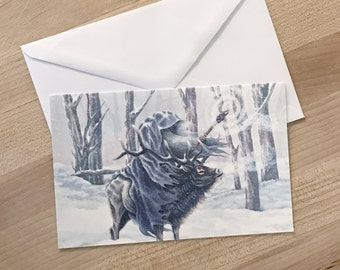 Wishing you a Magical Holiday Season - Wizard in the Snow Greeting Cards