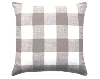 Buffalo Check Pillow Cover, Premier Prints Anderson Ecru Pillow Cover, Beige Tan Gingham Throw Pillow Cover with Invisible Zipper
