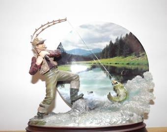 Vintage Bradford Exchange Rapid Strike Fisherman Display Figurine Plate