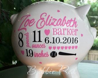 Personalized Piggy Bank, Softball Baby,  Girl Piggy Bank,  Baseball Baby Girl Gift, Piggy Bank,  Custom Piggy Bank, Piggy Bank for Girls
