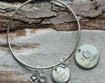 Happy or Sad You Decide Personalized Adjustable Wire Bangle Bracelet