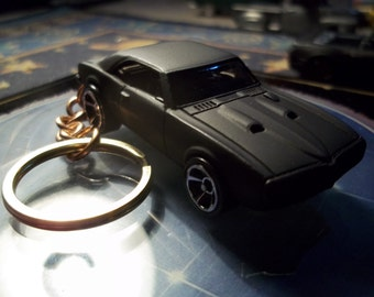 custom made keychain 1967 pontiac firebird 400 coupe,flat black w/hand made chain and jumprings-chrome mags/repaint-mint