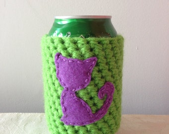Lavender Cat Cozy on Lime Green for a Cat Lover, Crochet Beer Cozy, Reusable Crochet Coffee Sleeve, Coffee Cup Cozy by Maroozi