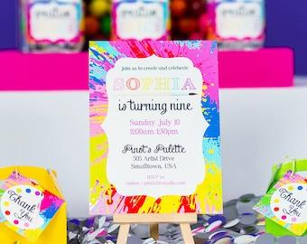 Art Party Invitation Instant Download - Printable Painting Party Invitation - Instant Download Art Birthday Invitation by Printable Studio