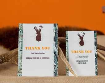 Hunting Thank You Card - Hunting Birthday Party Thank You - Instant Download Hunting Thank You Card by Printable Studio