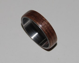 Dark Midwest Walnut Wood Stainless Ring/Custom Engraving