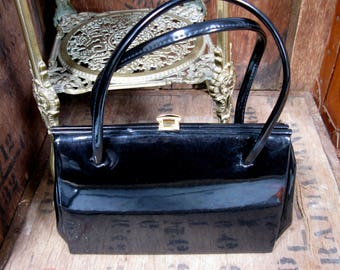Garfields Of London Bag, Patent Leather Bag, Vintage Handbag, 1960s Handbag, Black Patent Bag, Black Patent Purse, Kelly Bag, 1960s Purse