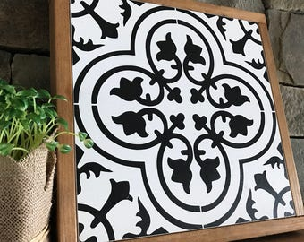 Black and White Tile Patter | framed wood sign | 13 x 13