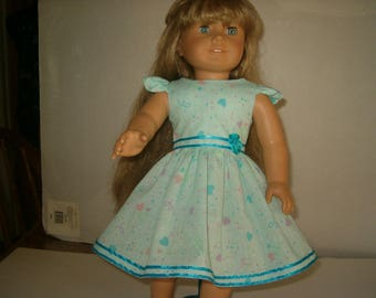 American Girl Doll Dress, 18 in, hearts.
