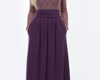 Plum Top Lace Maxi Womens Dress Round Neckline Long Sleeves Pockets