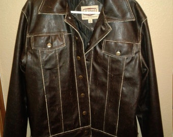 90s mens medium vegan leather faux brown leather jacket