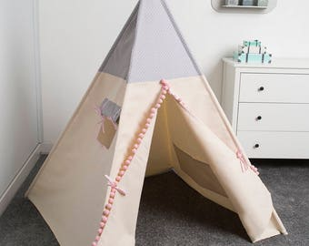 kids teepee play tent, tipi tente indienne, tente de teepee, tents pour enfant,  children teepee tent GREY DOTS