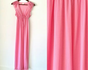 Vintage Stardust Pink Lace Ruffle Sleeve Maxi Night Gown Size Small